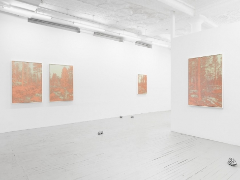 A photograph of the gallery's front half. There are 2 framed copper-etching works hung on the left wall, and a third with some space close to the corner at the back wall of the room. At right is another framed copper-etching on the temporary wall. On the ground are 4 painted rocks, scattered and painted.