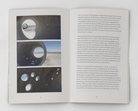 "An interior spread of ""zero: A.K. Burns on Nancy Holt, which includes three images taken by Burns inside Holt's ""Sun Tunnels"""