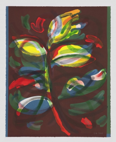 An abstracted and layered image of a sprig of leaves, with many layers of color peaking through (yellow, green, red, blue), upon a maroon ground