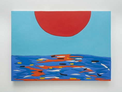 A photograph of an artwork that has a large red semi-circle emerging from the top center. On the bottom there is a surface that includes blue, yellow, orange, and black sections, appearing like the ocean with the red sunset reflecting off of it.