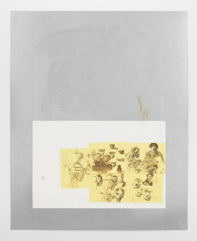 "An aluminum sheet that has a section at the bottom-half with white watercolor paper. Inside the watercolor paper are pieces of yellow paper. Upon that paper is a drawing made in brown of figures and human features excerpted from Goya's image, ""Famine"" (from ""Disasters of War,"" frame 51)"