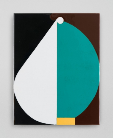 An abstract composition split down the center. On the right is a teal semi-circle poised on a yellow rectangle, with a brown background. The left is an oblong white shape with a black background.