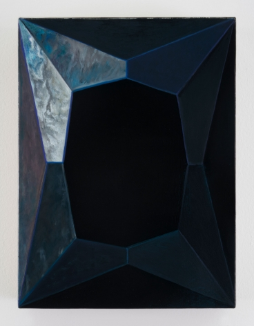 A painting of an abstracted face of a diamond. There is refracted color, and the artwork is mostly black. At the top-left, there are wisps of cream, blue, and white to indicate shine.