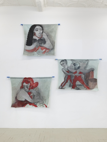 and installation of three paintings stacked on in a zag zag pattern showing images of women in deferent emotional states