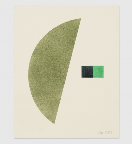 A collage of paper and paint: a green half circle is to the left of a rectangle created out of a green and black square