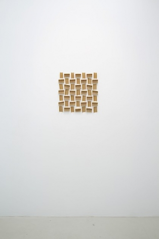 An installation view of Thomas Kovachevich's artwork, 49 Squares, at Callicoon Fine Arts