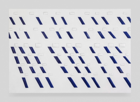 An artwork that is predominantly white, with 6 rows of white squares going across the surface. There are also navy blue rectangles, arranged in a slight angle to appear like rain falling down in the breeze. There are 9 columns of these rain-shapes.