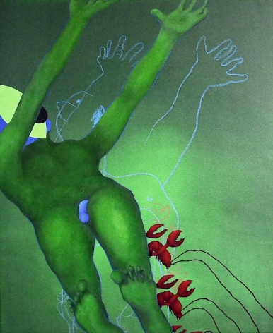 A painting of a green figure lying down with their arms outstretched on a green background; red lobsters are painted near the figure's feet