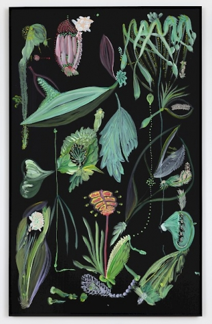 A large vertical painting on black ground that look like organic matter in tones of green and pink