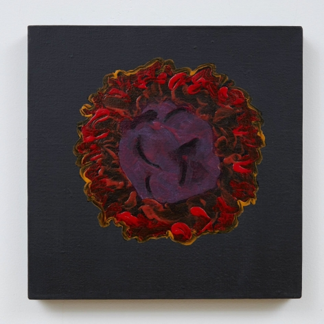 A photograph of a painting upon a black, square ground. In the center of the square is a rough circular shape that resembles a flower. The center of the shape is dark purple with some red hues as well; the exterior, abstracted petal-area is made up of red and orange brushstrokes applied gesturally with wet paint.