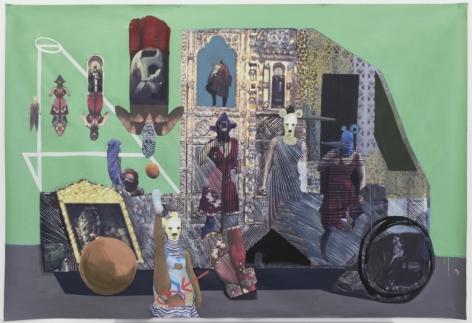 A mixed media artwork that depicts a tuk-tuk with varied patterns throughout. There are hybrid human-animal figures throughout the work. The tuk-tuk is on a gray surface with a green background.