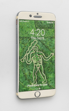 Iphone made of wood and painted with the Cerne Abbas Giant on the front