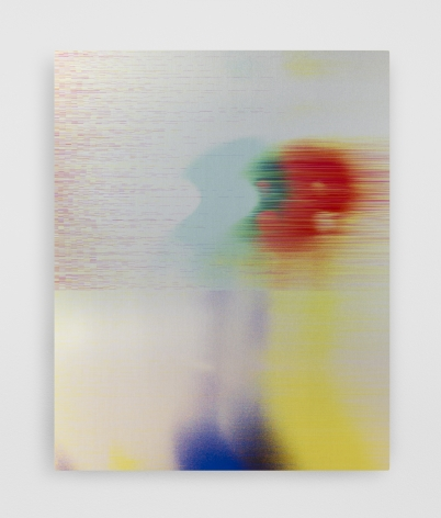 A glitch work on aluminum that is red, yellow, blue, green