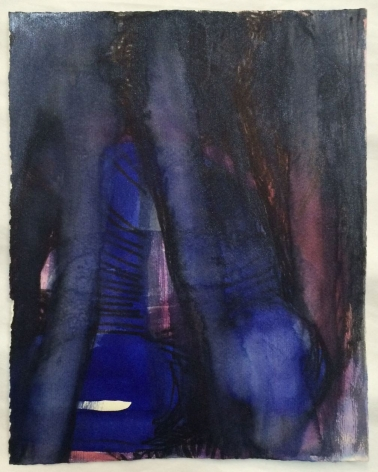 A mixed media work in predominantly blue, black, pink, and purple tones