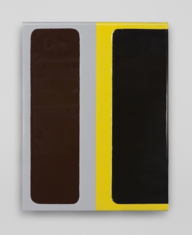 An enamel painting with geometric sections that are grey, brown, yellow, black