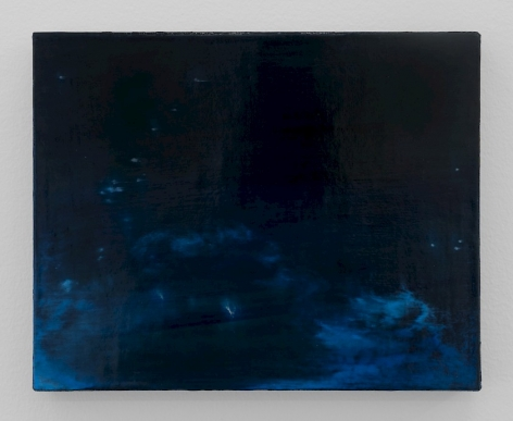 A painting of the night sky over the ocean. There are areas of movement, or areas where the waves are illuminated by the moon. The canvas is predominantly navy blue, with some dots indicating light or stars.