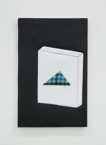An artwork of predominantly black ground, with a square shape at right taking up the majority of the surface. There is a triangle upon the box with blue and black gingham pattern.