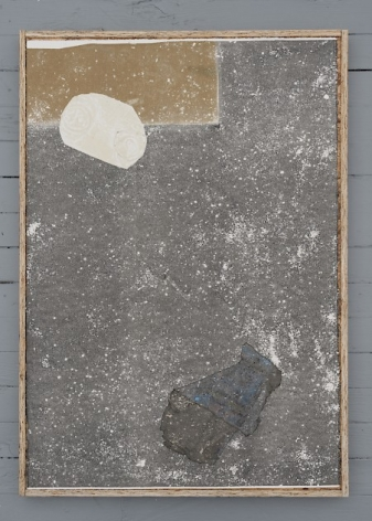 A collograph print that includes found objects upon it including a squished can painted white in the top-left, and another piece of detritus in the bottom-right.