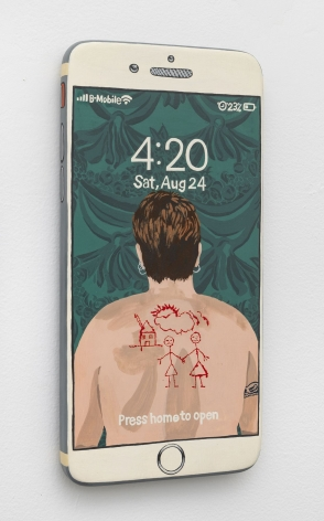 Iphone made of wood and painted on the surface with a photograph of Catherine Opie