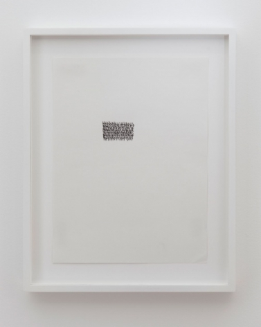 """A very small composition of dense black lines that appear to be """"p""""'s layered on top of one another. The rectangle is in the center, somewhat to the left. The work itself is framed in white."""