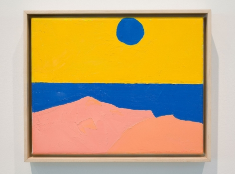 An abstract image made up of yellow (top half), with a blue circle near the top. The bottom half of the canvas has blue, pink, and salmon tones. It resembles a sunset scene.