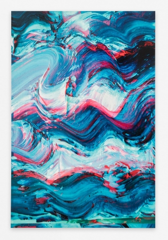 An abstract composition of predominantly blue squiggles, highlighted by layered pink and green colors.