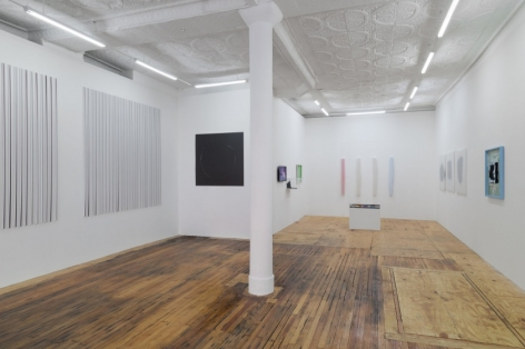 A photograph of the gallery installation from front-left