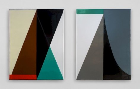 Two vitreous enamels on steel hung on a white wall next to each other. The work on the left is made up of differently sized triangles in yellow, brown, black, green, and white. On the right the work is white, black, steel blue, and green. Both works have a central vertical line.