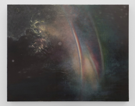 An abstract painting that appears to be inspired by a dark ocean night. There are several streaks of rainbows that appear faintly, vertically, in the center of the canvas. There are also wisps of movement at left.