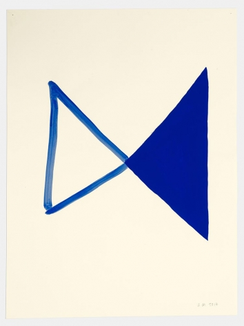 A painting on paper that shows two triangles connected in the center of the page at their tips. The triangle on the left is made by a blue outline, the triangle on the right