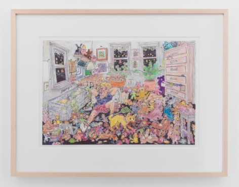 A colored pencil drawing of the artist in his room surrounded by stuffed animals and critters in many colors. There are 3 windows, plants, a dresser with open drawers, and a bed.