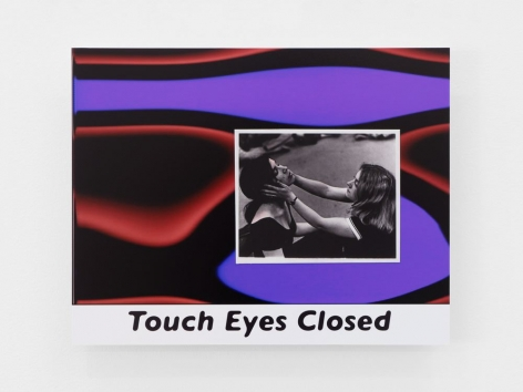 """A photograph pasted to an abstract background of red and purple tones that resemble a lava lamp. At the bottom, the text """"Touch Eyes Closed"""" is printed in black"""