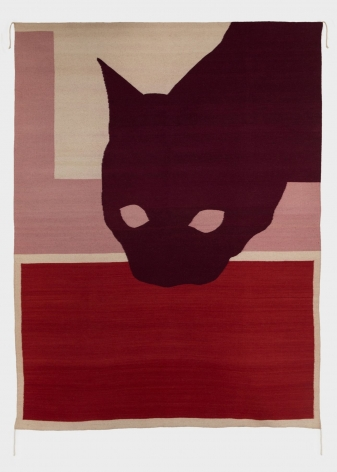 A wool rug with a purple silhouette of a cat, layered on top of 2 quadrants (one red, one pink)