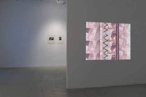 A photograph that depicts a Luther Price projection on a temporary wall, with images of a burned forearm repeated. In the background we see 2 photographs on the wall behind the temporary wall, which runs parallel to the temporary wall.