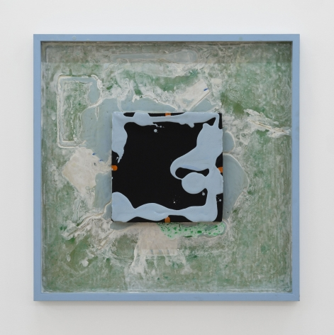 A photograph of an artwork in a square ground with a sky-blue frame. There is a square in the center of the artwork that has a black ground with splatters of the same blue paint found on the frame. Behind the black square is a background of mixed green, blue, and white tones, wherein the grain of the wood support is visible behind the paint.