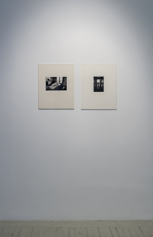 Two Hervé Guibert black and white photographs in cream mattes, next to each other.