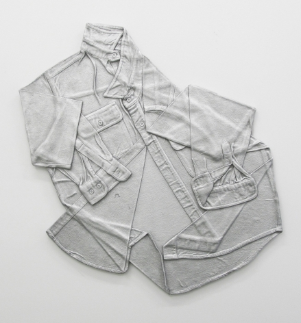 A work shirt laid over and flattened, made of aluminum