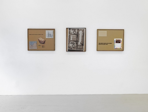 An installation image of 3 collages by Lyndon Barrois Jr