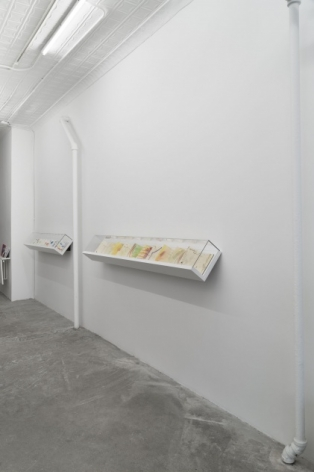 A photograph of the 124 Forsyth gallery, with 2 vitrines containing leporellos by Etel Adnan on the right side of the gallery