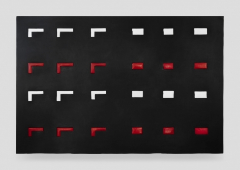 A black surface with red and white shaped. The top row and third row are white, the second and fourth row are red. On the left half of the canvas, there are 3 rows of gun shapes (short vertical line with a slightly longer horizontal line); on the right half there are 3 columns of rectangles.
