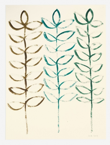 A painting on paper that depicts three sprigs with leaves. They are simple, almost symbols. One sprig is brown, one is blue, one is green.
