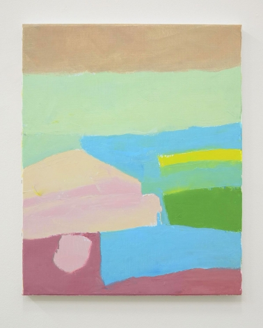 An abstract painting of a mountain peak in blue, green, beige, pink, and yellow tones