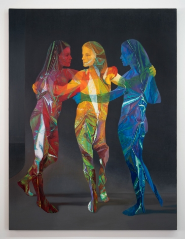 A gathering of three women, naked, painted photorealistically in red, yellow, and blue. They look like they are made of cellophane, and are reflective, somewhat flat.