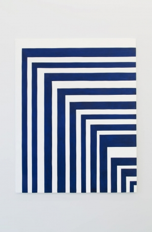 An artwork of blue and white lines that define a corner with a diagonal shift from upper left to lower right.