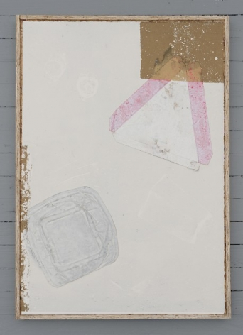 A collograph print that includes found objects applied to it. The top of a styrofoam clamshell can be seen on the bottom-left, and there is a pizza triangle for to-go slices near the top-left. At the top-left corner of the paper is a gold square. There is also a loose gold area on the left side of the paper.