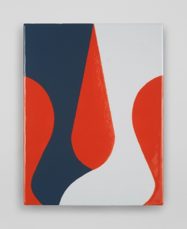 An enamel painting with a red background, and a grey and white squiggle laid over it.