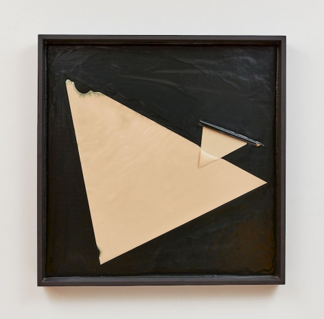 A black ground of thick black paint, framed in a black square. There are two triangles: one is large and leaning toward the top-left; the smaller one overlaps at the hypotenuse, making a small triangle in the large triangle.