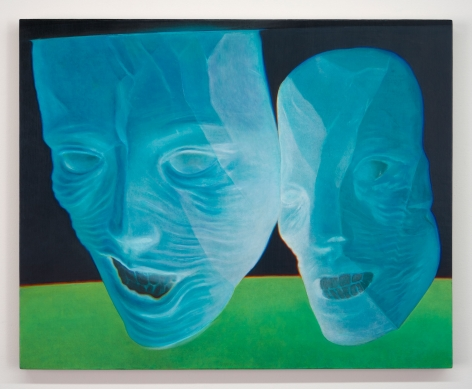 A painting of two floating masks painted in blue, seemingly laughing with mouths open. They are above a green ground, and against a black background.