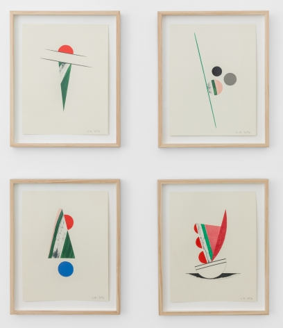 Four mixed-media collages on cream paper, framed with natural wood. The images are compositions made up of circles and semi-circles, lines, and triangles. The colors are red, pink, green, and blue.