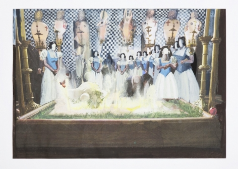 A painting with a magazine page as a base. Painted upon the page is a black-and-white pattern of squares in the background; formal ladies with white nondescript faces, and an illuminated grassy pit of light.